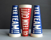 Go Team - Vintage Paper Popcorn Container Megaphone - ONE - Red or Blue Gold Medal Carton Ephemera 1950s