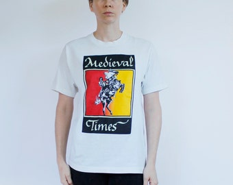 Vintage 80's t-shirt, Medieval Times, knight on horse, glow in the dark accents - Vintage Large
