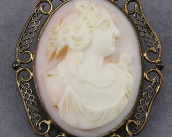Art Nouveau Cameo Gold Filled Pink Shell Hand Carved Highly Detailed Brooch Pin