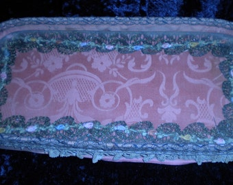 x Antique Ribbon Work Dresser Tray under glass Over 100 yrs. old (FF332)