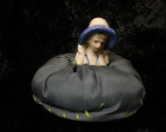 Half Doll antique pin cushion on blue gray puff with blue bonnet (FFs1267)