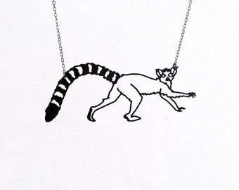 Lemur Necklace, Ring Tailed Lemur Madagascar