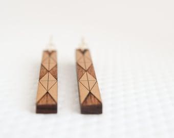 Mies Earring | Modern Long Bar Earring | Gold + Cherry Wood