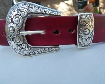 Red Western belt w/ Silver Plated Antiqued Brass Buckle Set and Diablo conchos