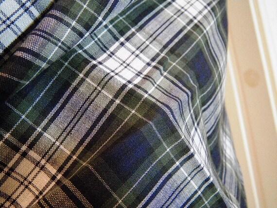 Navy blue green white plaid shirt fabric 35 inch 8 by moxiekin for Blue and green tartan shirt