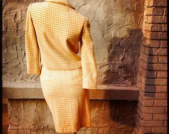 60s Orange Pencil Skirt Suit