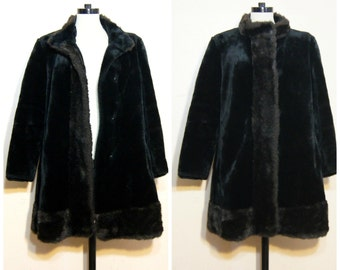 Black Faux Fur Coat Faux Mink Jacket Medium Large 90s Tent Coat