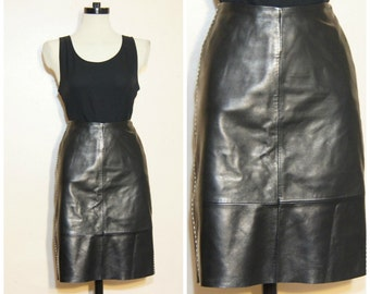 90s Black Leather High Waisted Skirt Small Contast Stitching Pencil Skirt