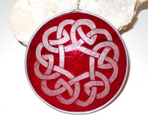 Red Stained Glass Celtic Suncatcher