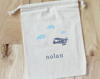 AIRPLANE CLOUDS- Personalized Favor Bags - Set of 10 - Birthday - Plane