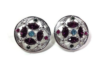 Purple Rhinestone Silver Clip Earrings