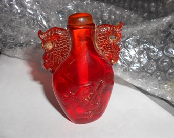 Dragon Snuff Fu Dog Amber Peking Glass Antique Snuff Bottle Beautiful Asian Collectible With Lid