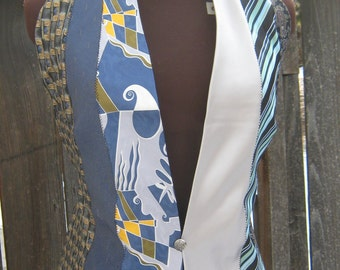 Women's Tie Vest in Blue and Silver