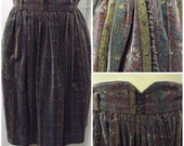 On Sale 1970s or 1980s Floral Velvet High Waist Skirt, Striped/Floral Print, Size Small,  #48127