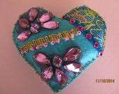 Decorated felt heart