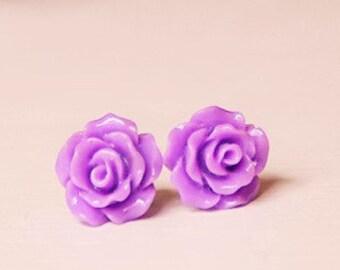 Handmade Earrings Purple Rose Earrings Lavender Resin Flower Post Earrings Purple Flower Earrings Lavender Bridesmaids Purple Wedding