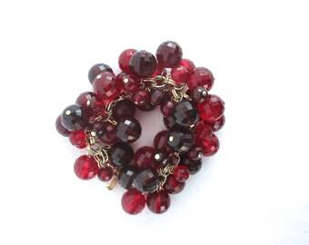 Vintage Bracelet Huge Bubble Bracelet Bold Faceted Beads Red Bead Runway Bracelet 1960 60s Midcentury Bracelet Mad Men