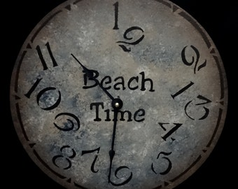 12 Inch BEACH TIME CLOCK in Multiple Shades of Blue with Cream and Tan Highlights and Jumbled Numbers