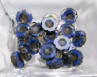 Cobalt Blue Czech Glass Pansy Flower Beads - cobalt blue pansy glass flower czech