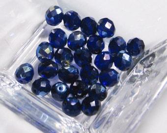 Deep Cobalt  Navy Blue AB Czech Faceted Glass Beads - blue navy cobalt AB faceted Czech glass