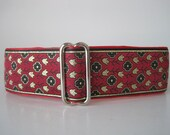 1.5 Inch Martingale Collar, Red Martingale Collar, Red Dog Collar, Whippet Collar, Jacquard Dog Collar, Sighthound Collar, Side Release