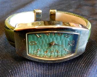 Gossip Wristwatch - Bracelet Style Green Face With Faux Lizard Band