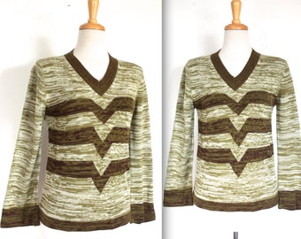 Vintage 1970's Sweater // 60s 70s Olive and Moss Green Stripe Bell Sleeve Sweater // V for Victory