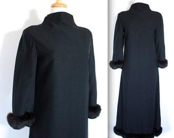 SALE Vintage 1960's Dress // 60s Long Black Evening Dress with Fur Cuffs // DIVINE