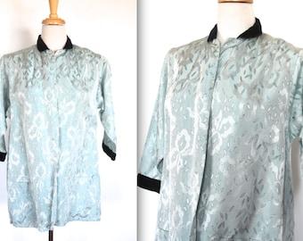 Vintage 1950s Coat // 50s Pale Mint Brocade Swing Jacket with Velvet Trim // Ribbon Bows and Leaves // DIVINE