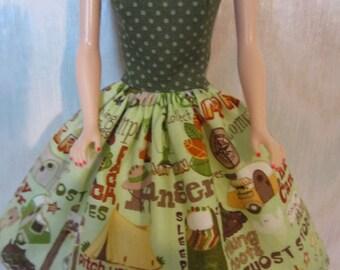 "Handmade 11.5"" fashion doll clothes - green camping print dress"