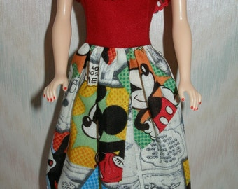 "Handmade 11.5"" fashion doll clothes - mickey cotton print dress"