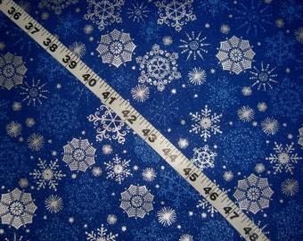 Christmas fabric with snowflakes metallic snow flakes on blue cotton quilt quilting sewing material to sew by the yard crafting trees
