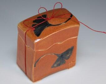 Handmade Japanese wish box with gingko leaves