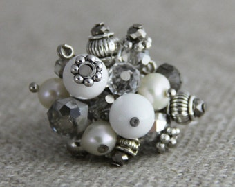 Antiquity - Adjustable Cluster Ring - Pure White Dolomite Marble Freshwater Pearls Czech Crystal Silver Neutral Cocktail Ring