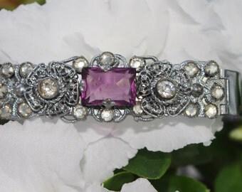 Antique - Art Deco - Fabulous Rhinestone and Amethyst Paste - Bracelet - 1920s