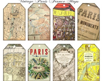 Vintage PARIS STREET MAPS Tags - Instant Download Digital Printable French Hang tags,cards  - DiY