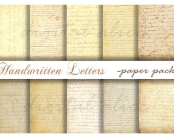 Antique HANDWRITTEN FRENCH LETTERS - Digital Paper Pack - 10 1800's Letters-Instant Download Digital Printable Papers  - DiY