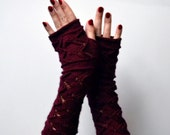 Dark Red Lace Knit Fingerless Gloves - Lace Fingerless Gloves - Fall Gloves - Knit Lace Gloves - Feminine Fingerless - Christmas Gift nO 150