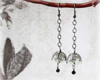Gunmetal Earrings, Lampwork Earrings, Glass Bead Earrings, Drop Earrings, Boho Earrings, Traditional Earrings, Elegant Earrings