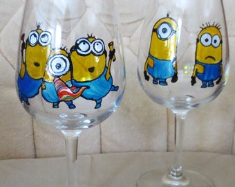 Minions Hand Painted Wine Glass Made To Order