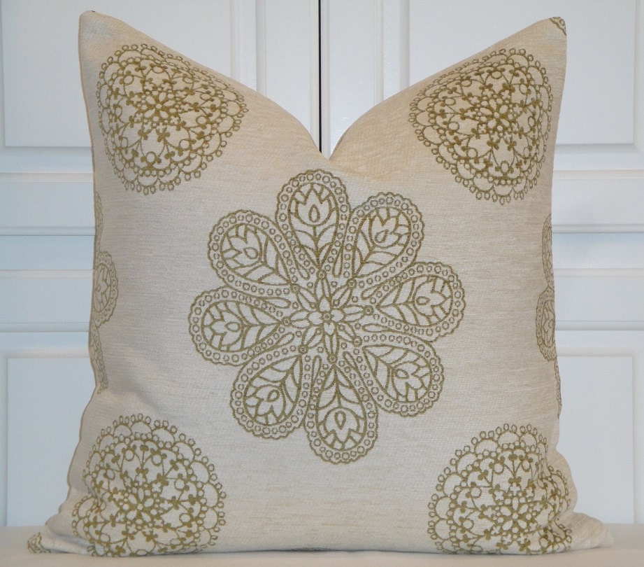 Natural Decorative Pillow : Decorative Pillow Cover Olive Natural Chenille Medallion