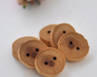 wood button • set of 9 Black Cherry wooden buttons • Black Cherry Tree Branch buttons