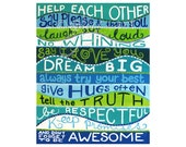 FAMILY RULES, Wall art print, 16x20 inch, Art for playroom or family room or kids room