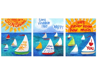 You Are My Sunshine, ART PRINTS, 16x20 Giclee Set of 3,  Sailboat Themed Decor for Kids, Colorful Nursery Art