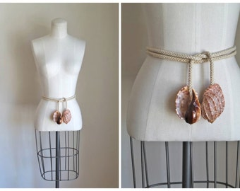 vintage seashell belt - SEASHORE shell and rope belt