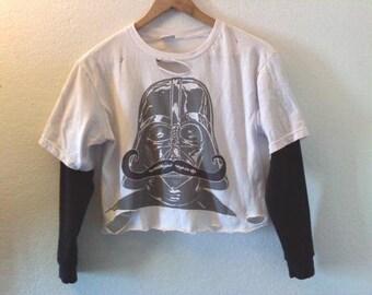 Moustache / Darth Vader T Shirt / Star Wars / Graphic Tee / Crop Top / Half Tee / Indie / Grunge / Rock / Space / Galaxy / Classic Movie