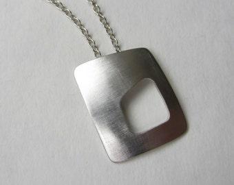 Wonky Rectangle Pendant silver on long chain modernist style geometric asymmetric necklace handmade