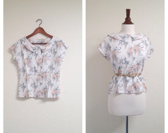 Vintage floral collared button up shirt