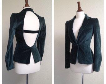 Vintage Forest Green open back velvet blazer sz XS