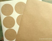 """240 Kraft Stickers, 2.5"""" circle stickers, (64mm), recycled stickers, kraft brown stickers, large round stickers, eco-friendly (20 sheets)"""